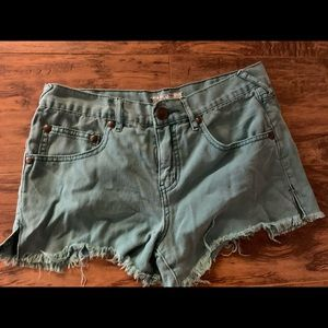 High waisted free people teal shorts